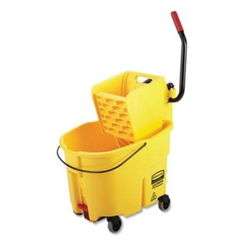 Rubbermaid Commercial Products RCP2031764 35 qt. WaveBrake 2.0 Side-Press Bucket & Wringer with Drain - Yellow