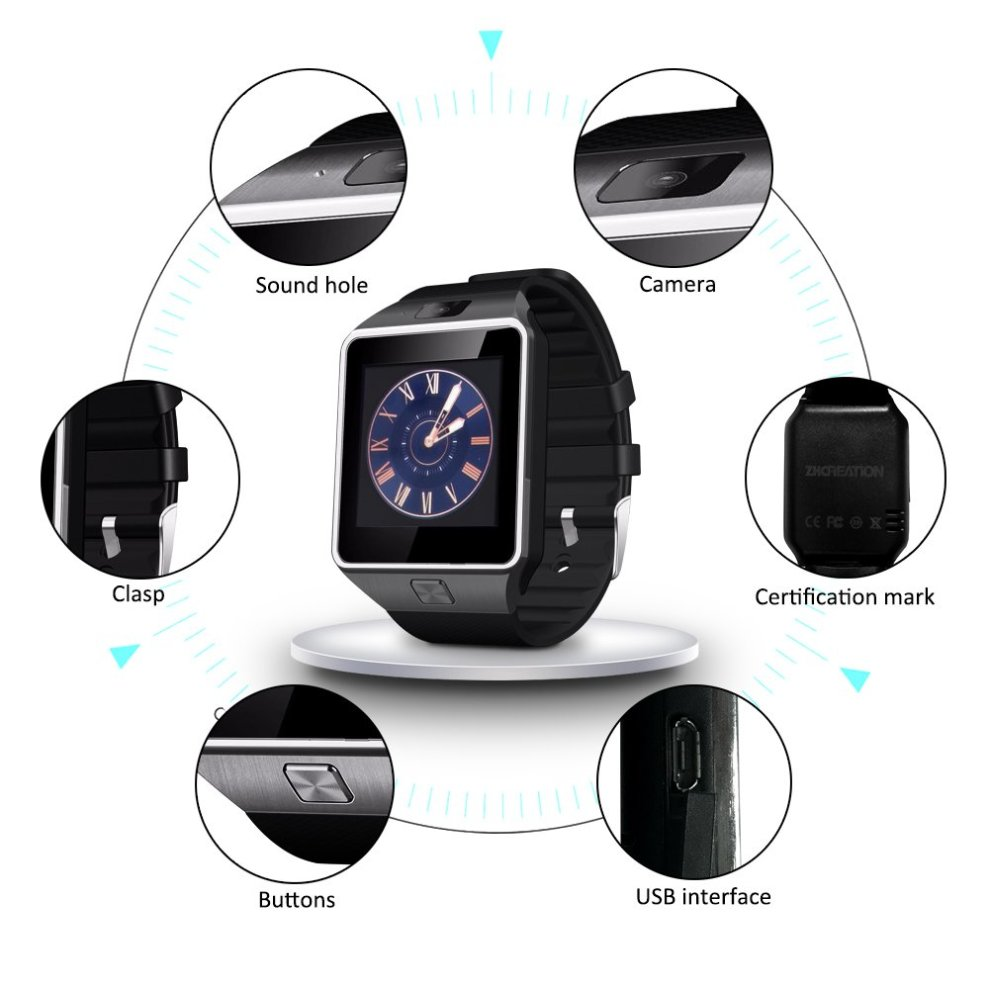 dz09 smart watch,ZKCREATION Smart Watches Android sport waterproof  Bluetooth camera smartwatch Touch Screen Cell Phone with Sim Card Slot