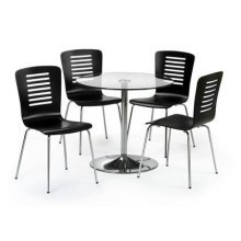 Kaydee Dining Set Glass Table & 4 Black Wooden Chairs