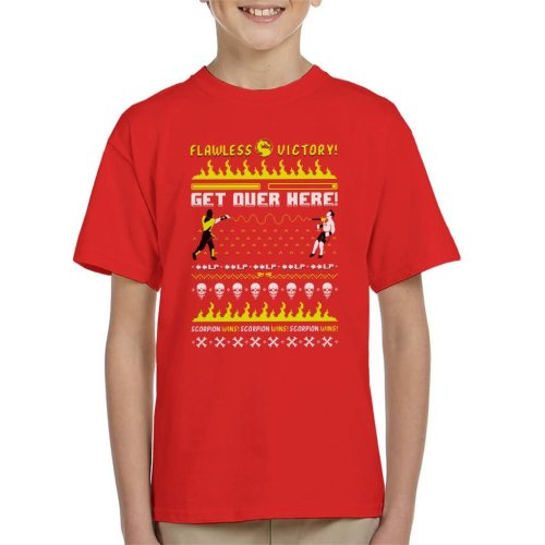 Scorpion Mortal Kombat Christmas Knit Pattern Kid's T-Shirt