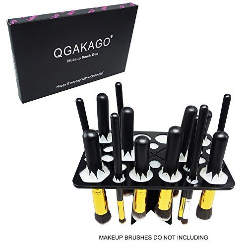 QGAKAGO 28 Hole Makeup Brush Tree Holder Organizer Folding Collapsible Air Drying Tower Brush Dryer
