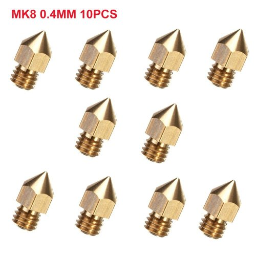 CCTREE 10pcs 0.4mm MK8 Extruder Nozzle For 3D Printer Makerbot Creality