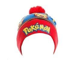 Pokemon Embroidered Pikachu with Red Pom-Pom Cuffless Beanie - Multi-Colour