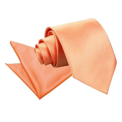 Coral Plain Satin Tie & Pocket Square Set