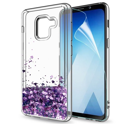 Samsung Galaxy A8 2018 Case Liquid Glitter with HD Screen Protector for  Girl Women 951e951af