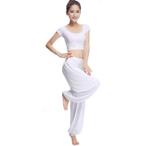 Best Yoga Apparel Sexy Yoga Pant  Gym Clothes Dance Outfit Fitness Suit White
