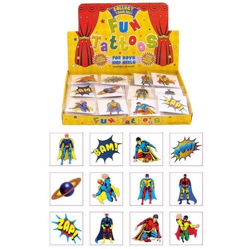 72 Super Hero Temporary Tattoos - Party Bag Fillers Kids