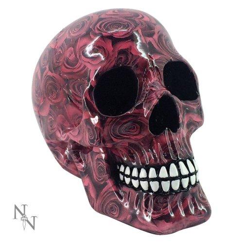 Nemesis Now Romance Ornamental Skull Gothic Fantasy Red Rose Gloss Effect 19cm