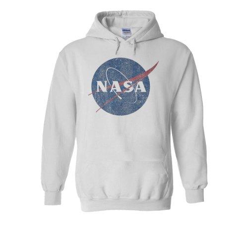 Nasa National Space Administration Logo Vintage White Men Women Unisex Hooded Sweatshirt Hoodie
