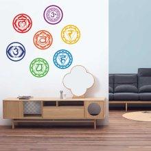 7Pcs/Set Chakras Wall Stickers Mandala Yoga Meditation Symbol PVC Removable Wall Decals Murals