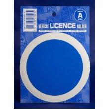Blue Plain Car Licence Holder - Bright Circular A Code Driving Tax Sticker - Plain Bright Blue Circular A Code Driving Tax Licence Holder Sticker