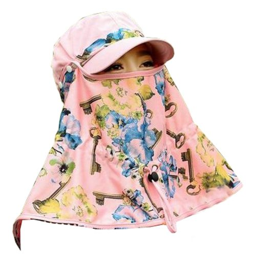 8cf8525f261 Women Face UV Protection Hat Outdoor Summer Sun Flap Cap Neck Cover Free  Size (Pink-Flower) on OnBuy