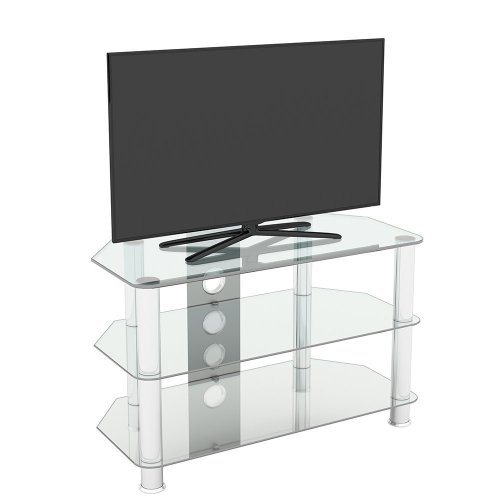 """King Glass TV Stand 80cm, Chrome Legs, Clear Glass, Cable Management, for TVs up to 42"""""""