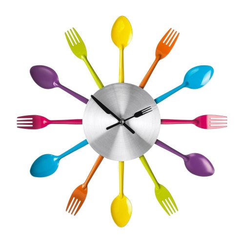 Funky Design Cutlery Wall Clock  For Home Kitchen - Multi-coloured