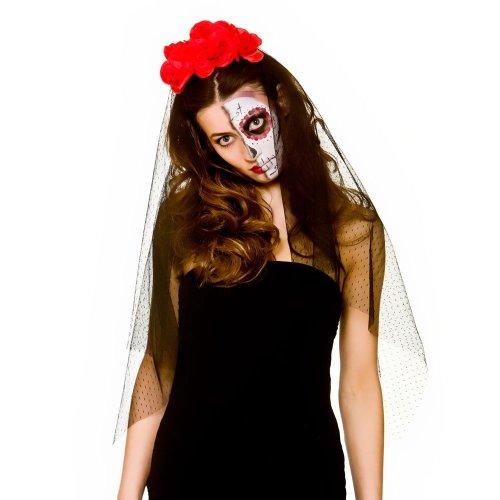 Flower Day of the Dead Veil Headband   Halloween