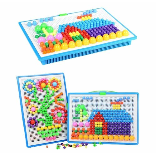 Upworld 296 pcs Mushroom Nails Pegboard Educational Colourful Jigsaw Puzzle Building Blocks Bricks Creative DIY Mosaic Toys for Kids & Toddlers,...