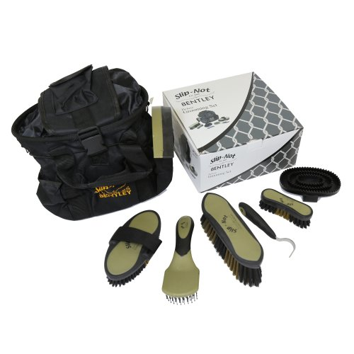 Bentley Deluxe 8pc Equestrian Horse Grooming Brush Kit Boxed Set Black & Gold