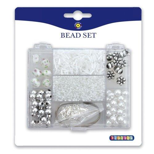 Pbx2471138 - Playbox - White Beads Mix in Rectangular Storage Box