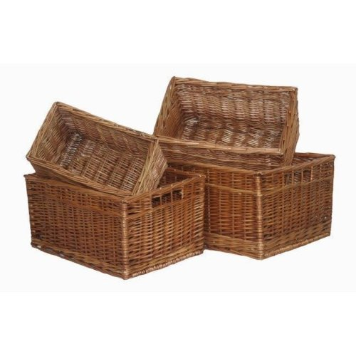 Double Steamed Open Wicker Storage Baskets Set of 4