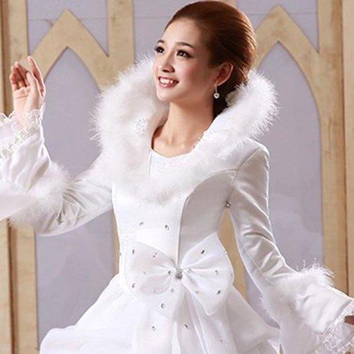 White Organza Cheap Muslim Wedding Dresses 2017 Long Sleeves Winter Wedding Gowns vestido noiva trouwjurk