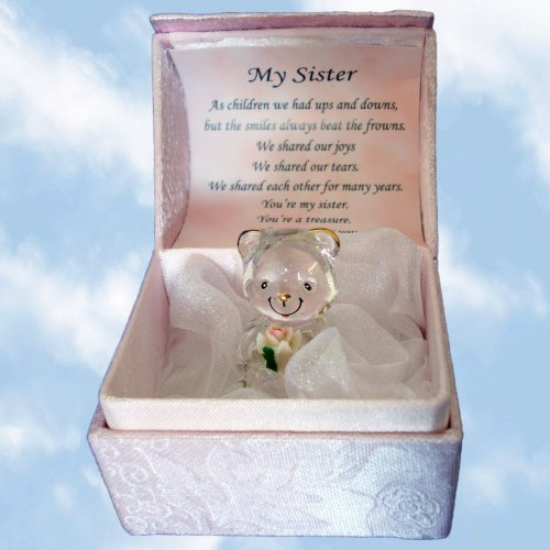 My Sister Crystal Bear In A Box - Hand-Sculpted - 22KT Gold by A Gift From The Heart
