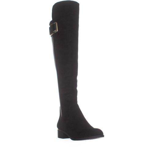 Calvin Klein Cyra Wide Calf Turlock Boots, Black Suede, 3 UK