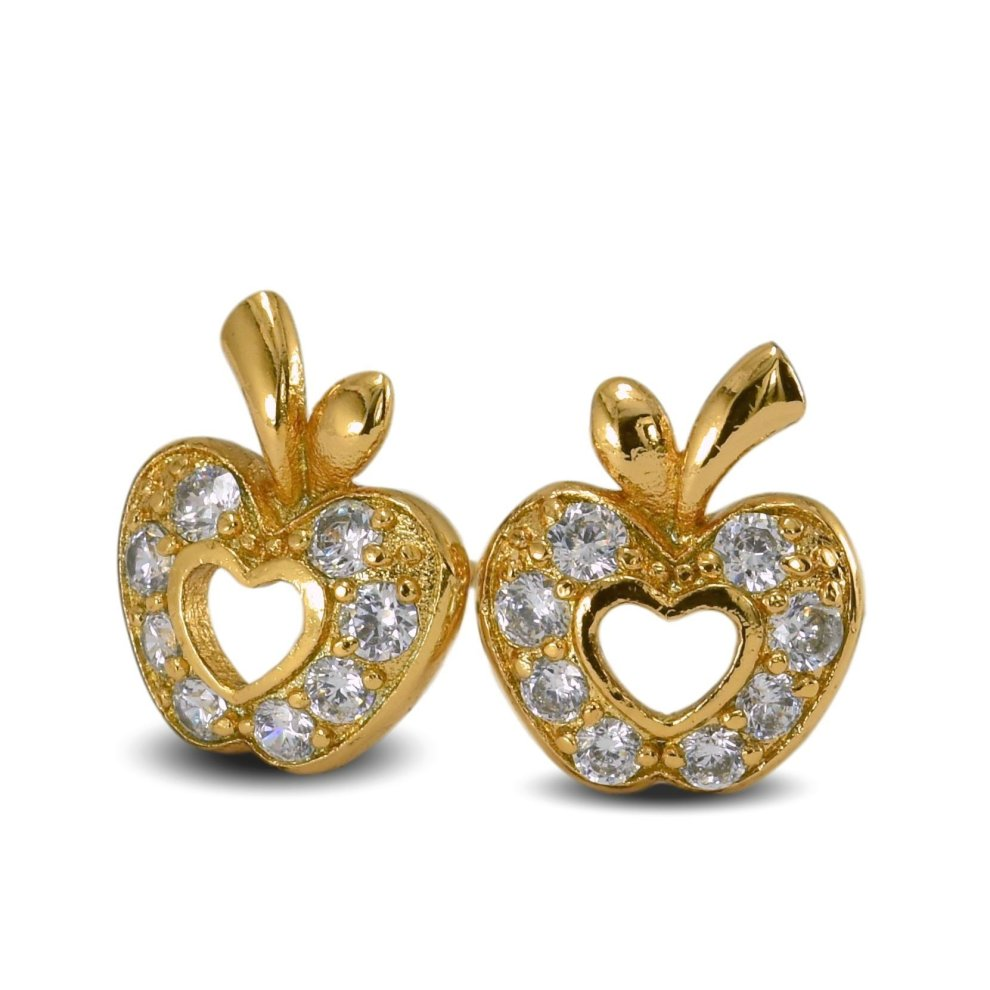 051d8ffc18902 Blue Diamond Club - Apple Stud Earrings 18ct Gold Filled with White ...