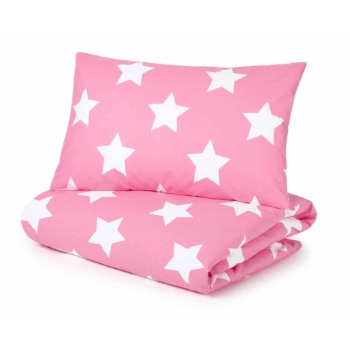 Cot Bed Duvet Cover and Pillowcase Set, Pink with White Stars