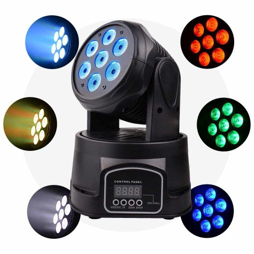 Stage Light LED Moving Head Professional DMX512 RGBW 7x8W 9/14CH Professional Mini Moving Head Lighting 4in1 Strobe Effect for dj Disco Party Restaurant Club Wedding Home Party