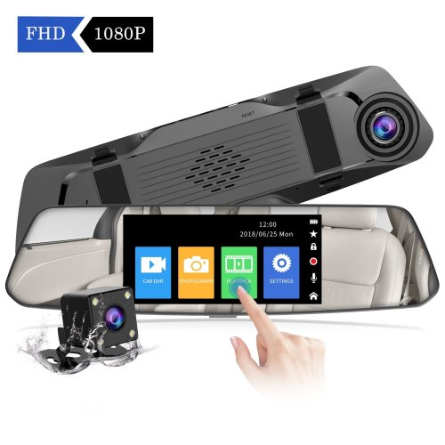 【2018 New Version】CHORTAU Mirror Dash Cam 4.8 Inches Touch Screen Full HD 1080P, Wide Angle Front Camera and Waterproof Rear Camera, Car camera...