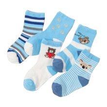 Set of 5 Blue Unisex Baby/Kids Breathable Cotton Socks