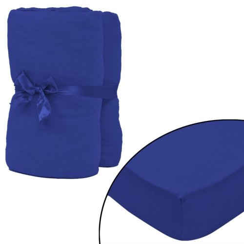 vidaXL Fitted Sheet 2 pcs Cotton Jersey 180x200-200x220 cm Blue