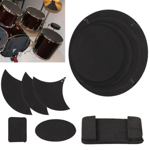 10Pcs Mute Silencer Drumming Practice Pad Bass Snare Drums Sound off/ Quiet Top