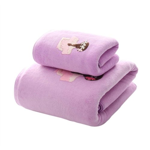 Soft Fiber Bath Towel Set Highly Absorbent for Bathroom Beach Sport, Purple, Set of 2