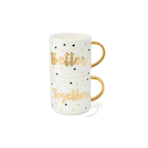 Better Together pair of stacking mugs ~ Wedding, Anniversary gift