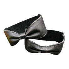 Black Bowknot Shape Design Elasticated Shoe Straps