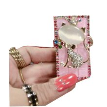 Rechargeable Lighter Stylish Rhinestone Windproof Cigarette Lighters with USB, #03