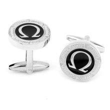 Omega Silver and Black Cuff Links Stylish Mens Cufflinks