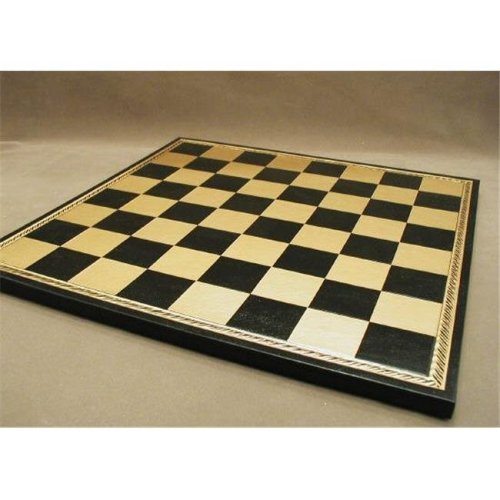 Pressed Leather Chess Board - Black and Gold