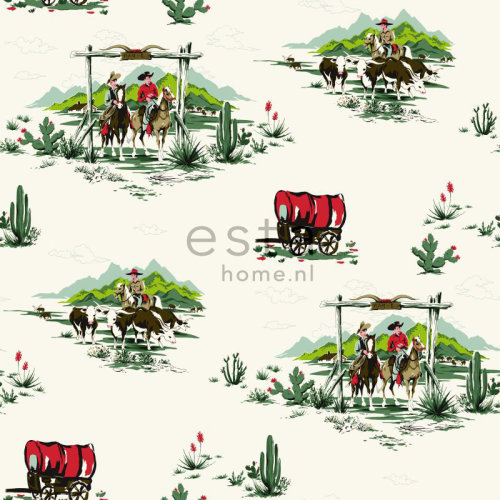 chalk printed non woven wallpaper cowboys green and red