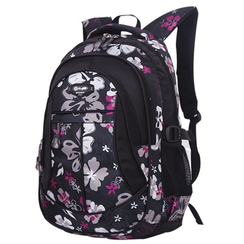 Erfun Flower Printed Primary Junior High University School Bag Bookbag Backpack Black Large