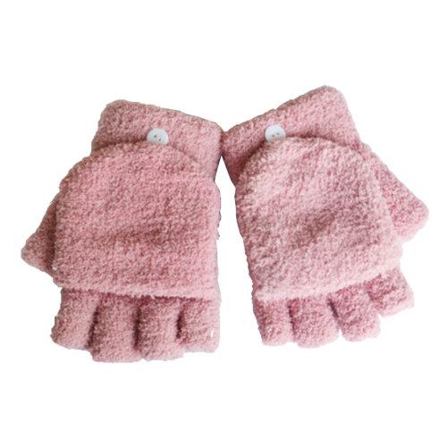 Women's/Girls Fingerless With Mitten Cover Plush Gloves,pink