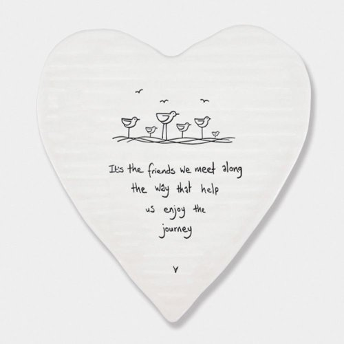East of India Porcelein Heart Shaped Coaster 'It's the friends we meet..' Gift