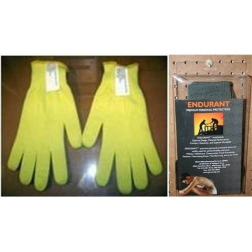 Gems Manufacturing Systems 211190204 Double-Layered Seamless Kevlar Gloves  with Kevlar Liner, Yellow - Large
