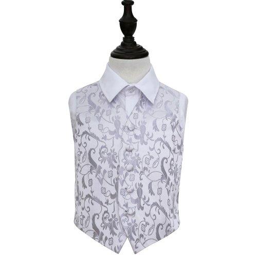 Silver Floral Wedding Waistcoat for Boys 34'