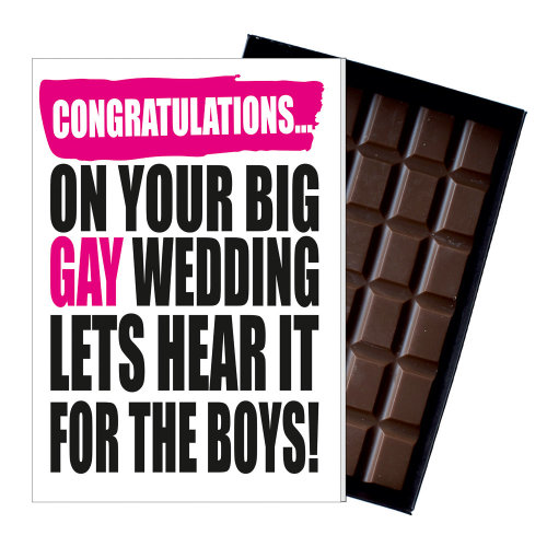 Gay Wedding Congratulations Gift Fuuny Chocolate Present for LGBT Marriage