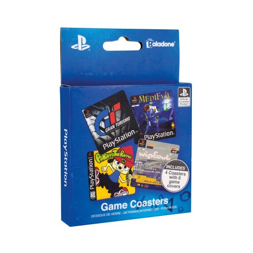 Playstation Plastic Coasters Place Mats Set Non Slip Square Gaming Retro Drinks