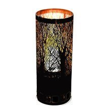 Silk Flame Effect Lamp - Round Forest Brazier In Black