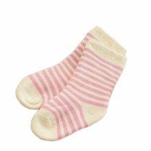 Set of 2 Newborn Thick Warm Cotton Socks 0-24 Months Baby Pink Yellow Stripe