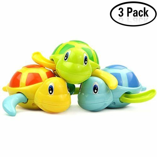 Yojoloin Baby Bathing Bath Swimming Tub Pool Toy Cute Wind Up Turtle Animal Bath Toys Set for Kids(3 PCS,3 Color)